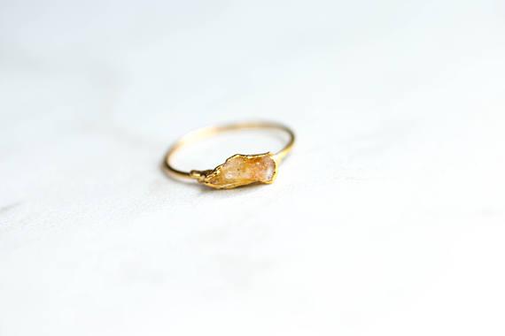 Manifest Success With Citrine - Raw Citrine Ring