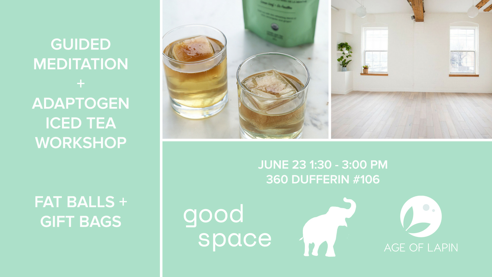 You're Invited: Guided Meditation and Adaptogen Iced Tea Workshop Information Flyer