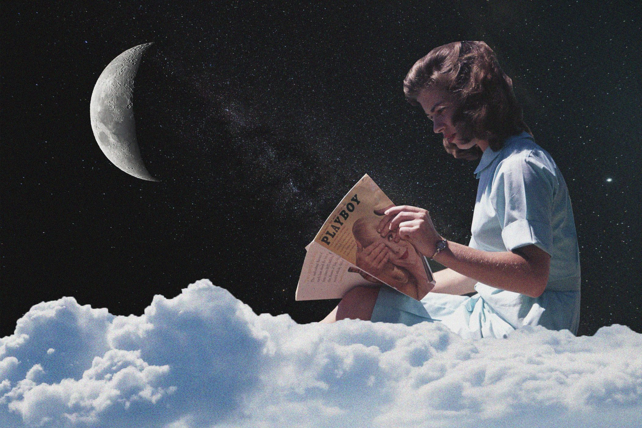 Woman sitting on cloud reading playboy magazine with universe and crescent moon behind her