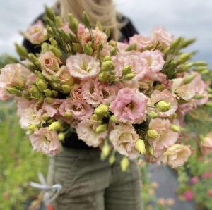 Woman holding a light pink bouquet