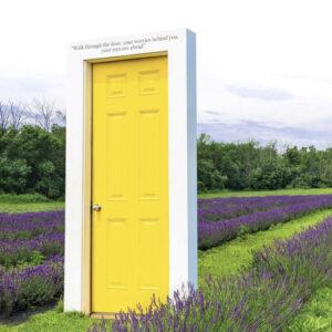 Yellow door in a lavender field