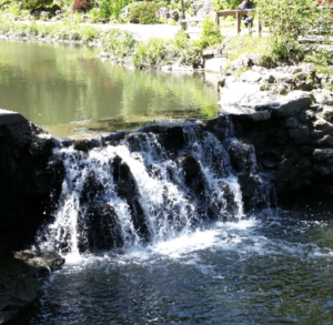 Stone waterfall with stream